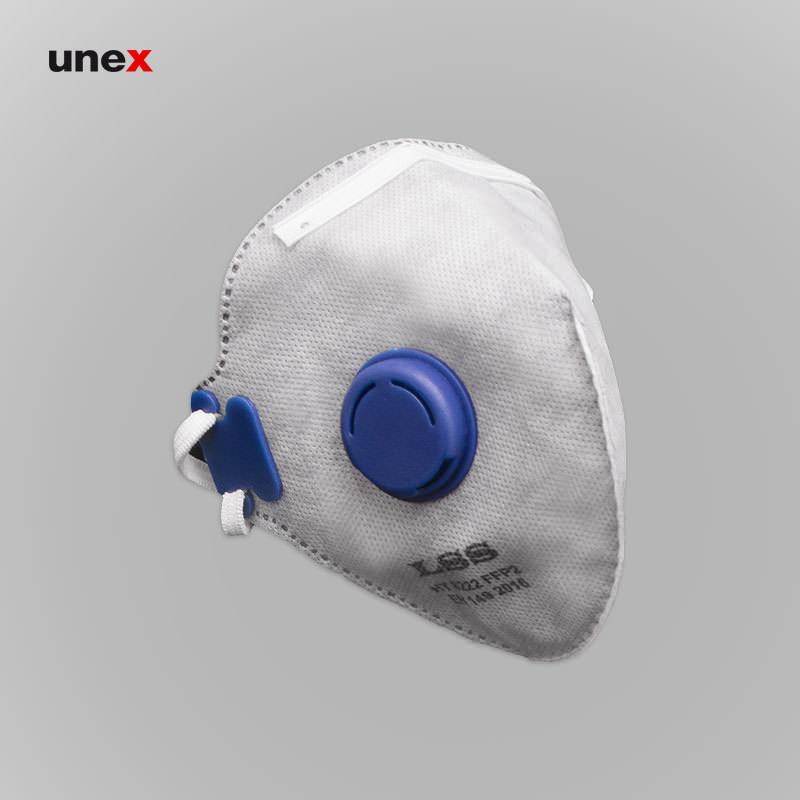 ماسک تاشو سوپاپ دار نمدی LSS 8222 FFP2، ابزار ایمنی شهپر، ماسک های سوپاپ دار، طوسی، ایرانی
