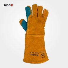 دستکش هوبارت کف دوبل کولار ورکر – WORKER، ابزار ایمنی شهپر، دستکش چرمی، خردلی – آبی، ساخت ایران
