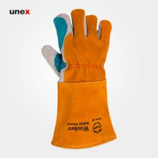 دستکش جوشکاری هوبارت ورکر – WORKER، ابزار ایمنی شهپر، دستکش چرمی، خردلی – سفید، ایرانی