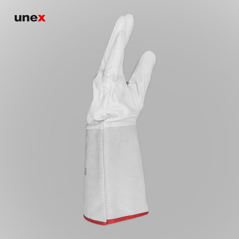 دستکش آرگون بلند، اس پی سی - SPC، دستکش چرمی، سفید، چینی