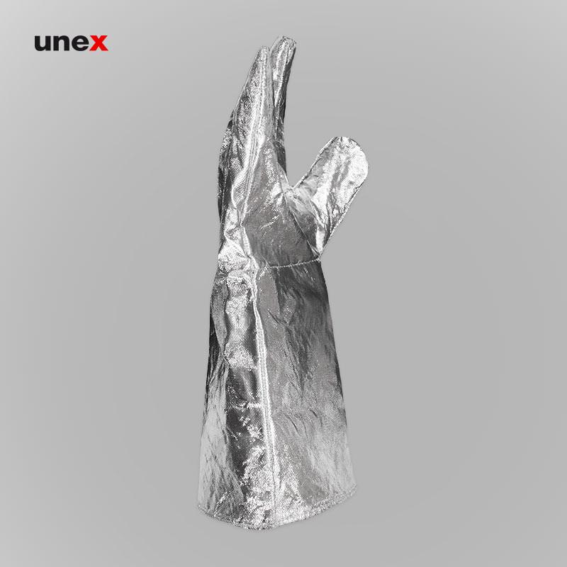 دستکش آلومینیومی بلند، ابزار ایمنی شهپر، دستکش عملیاتی مبارزه با حریق، نقره ای، ایرانی