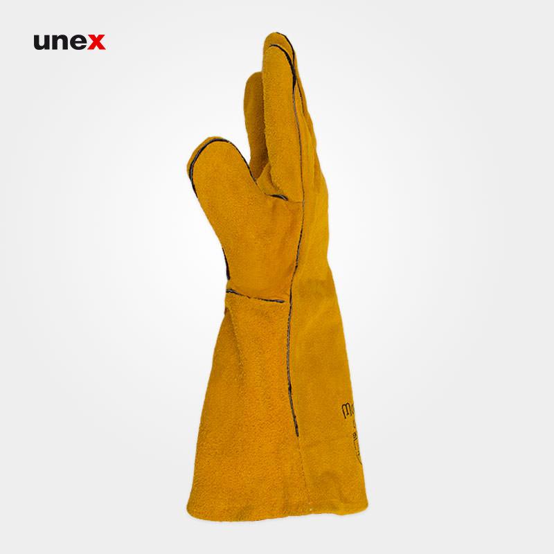 دستکش هوبارت درجه یک، مک ولد - MAC WELD، دستکش چرمی، خردلی، پاکستانی