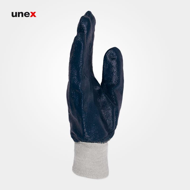 دستکش مواد نفتی مچ کشدار ۴۱۱۱، کاستا – KOSTA، دستکش نیتریلی، سرمه ای، چین