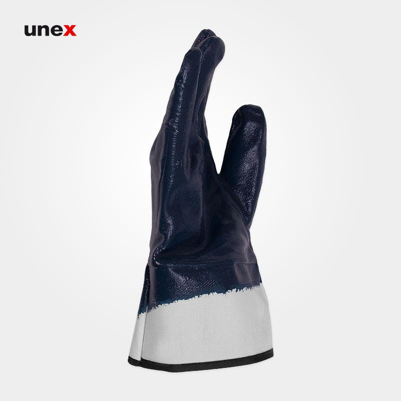 دستکش مواد نفتی مچ کتان ۴۱۱۱، کاستا – KOSTA، دستکش نیتریلی، سرمه ای، چینی