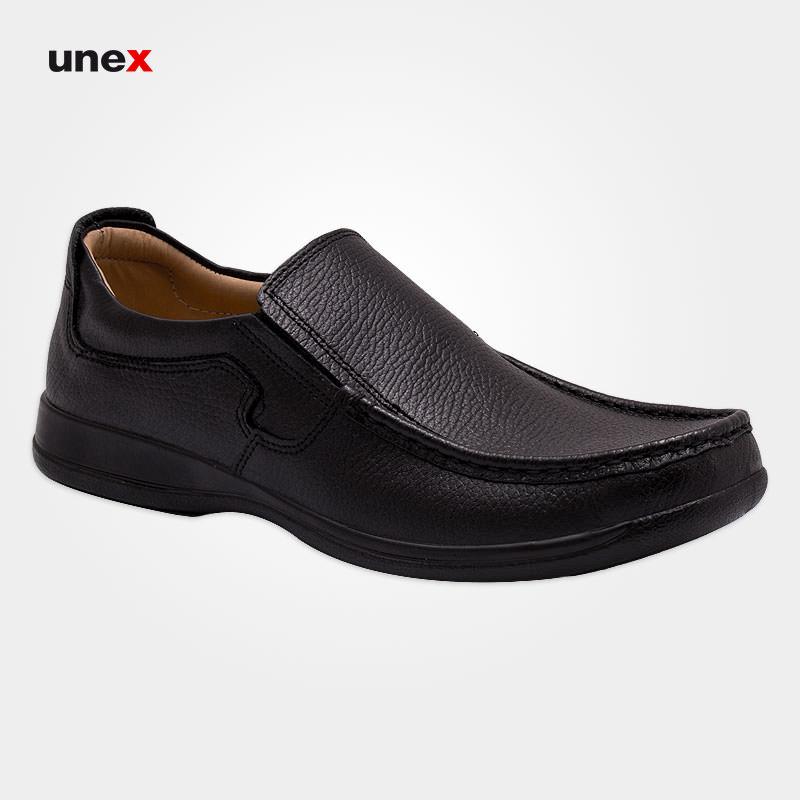 کفش چرمی مردانه ۱۰۰۱ شرانگ، کفش شهپر، کفش اداری، مشکی، کفش کارمندی، ایرانی