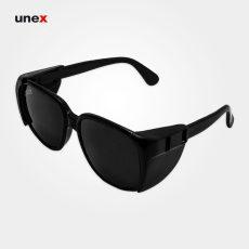 عینک ایمنی جوشکاری S04 لنز نور ۹، ابزار ایمنی شهپر، عینک فریم دار، مشکی، ایرانی