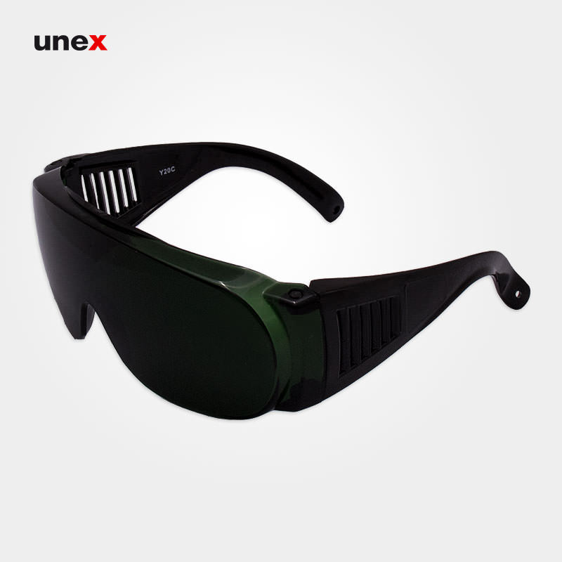 عینک ایمنی IR5 پلی کربنات Y20C دسته پنجره ای، ابزار ایمنی شهپر، عینک جوشکاری، سبز، ایرانی