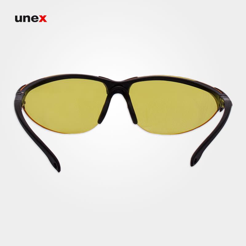 عینک ایمنی Y88 پلی کربنات R200، ابزار ایمنی شهپر، عینک جوشکاری، لنز زرد، فریم مشکی، ایرانی