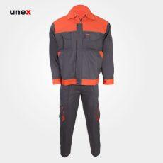 لباس کار یونکس مهندسی ۳۶۰ گرم طوسی نارنجی