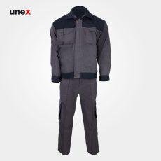 لباس کار یونکس مهندسی ۳۶۰ گرم طوسی سرمه ای