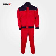 لباس کار یونکس مهندسی ۳۶۰ گرم قرمز سرمه ای