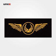 آرم سینه هواپیمایی آسمان، ابزار ایمنی شهپر، آرم، مشکی – طلایی، ایرانی