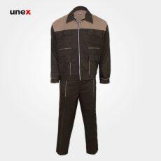 لباس کار کاپشن شلوار مهندسی، لباس کار صنعتی، زیتونی- کرم، ایرانی