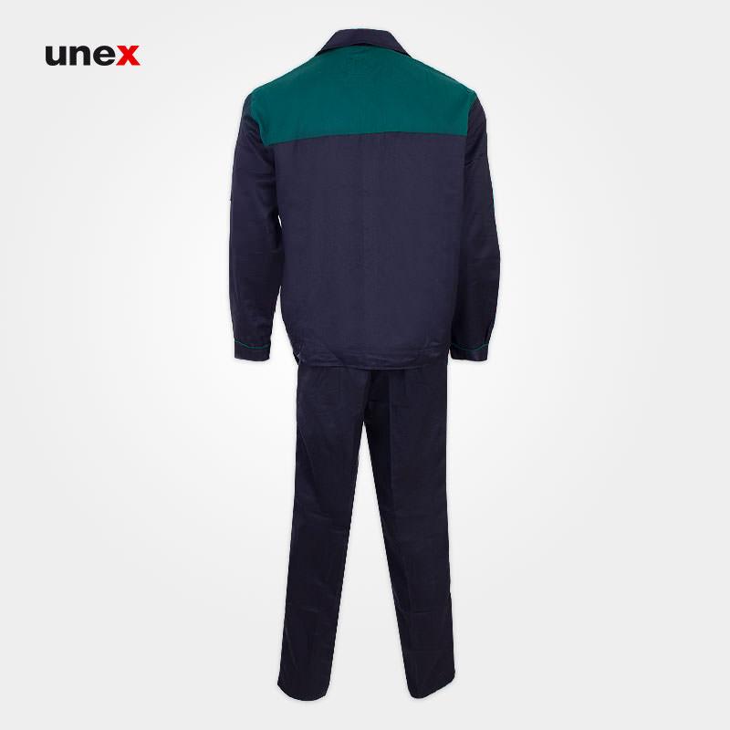 لباس کار کاپشن شلوار مهندسی، لباس کار صنعتی، سرمه ای - سبز، ایرانی