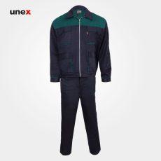 لباس کار کاپشن شلوار مهندسی، لباس کار صنعتی، سرمه ای – سبز، ایرانی