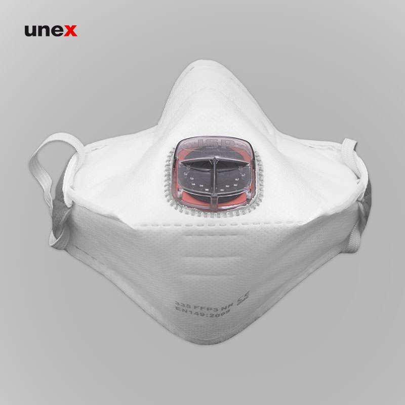 ماسک تنفسی سوپاپ دار قایقی ۳۳۵ FFP3، جی اس پی - JSP، ماسک های سوپاپ دار، سفید، انگلیسی