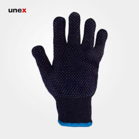 دستکش بافتنی خالدار دورو، ابزار ایمنی شهپر، دستکش پارچه ای، سرمه ای، چینی