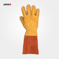 دستکش تمام چرم آرگون، ابزار ایمنی شهپر، دستکش چرمی، خردلی – نارنجی، پاکستانی