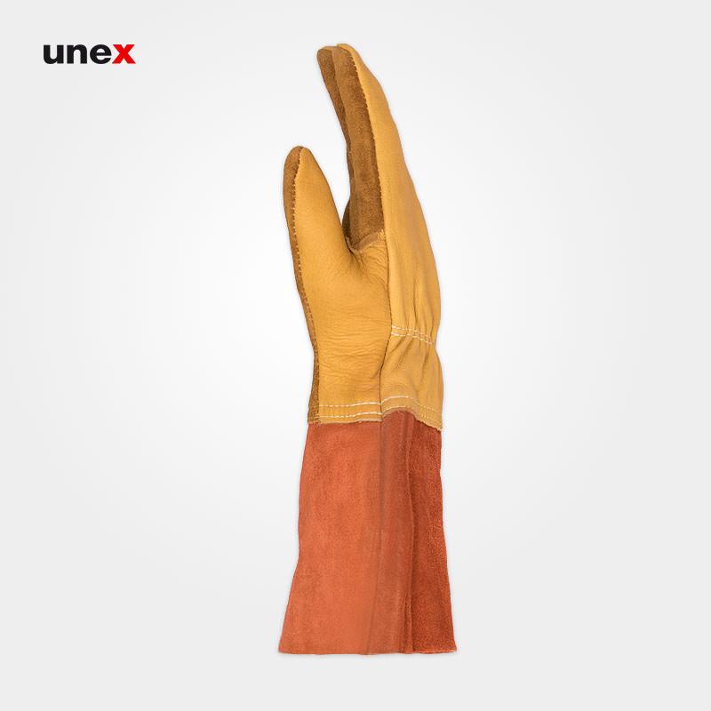 دستکش تمام چرم آرگون، ابزار ایمنی شهپر، دستکش چرمی، خردلی - نارنجی، پاکستانی