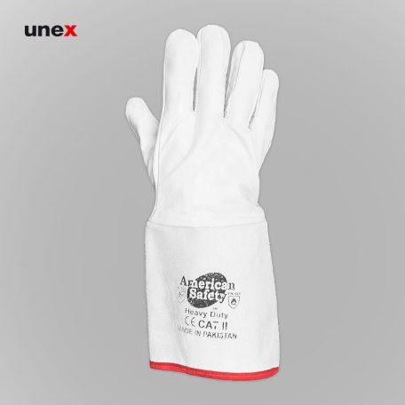 دستکش آرگون ساق بلند، ابزار ایمنی شهپر، دستکش چرم، سفید، پاکستانی