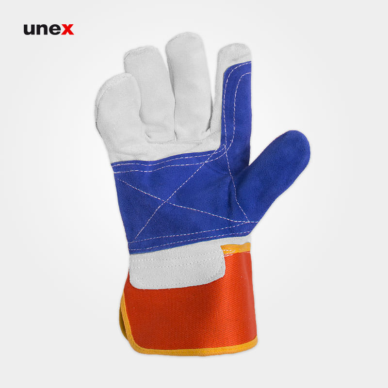 دستکش کف دوبل درجه یک، ابزار ایمنی شهپر، دستکش چرمی، چرم اشبالت، پاکستانی
