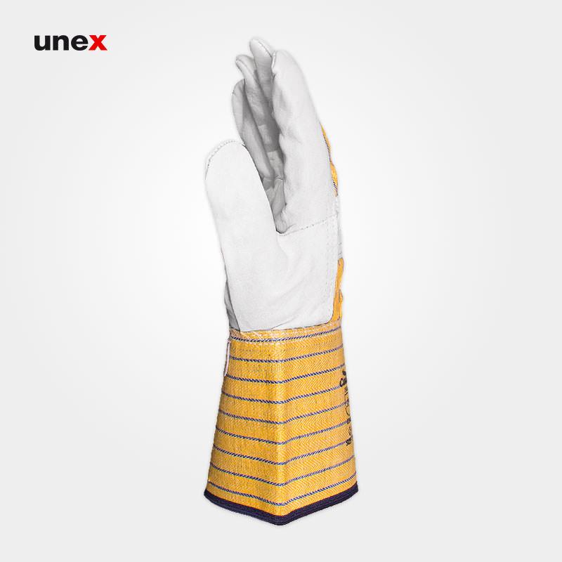 دستکش آرگون مهندسی، کندور - CONDOR، دستکش چرمی، سفید - زرد، تایوان