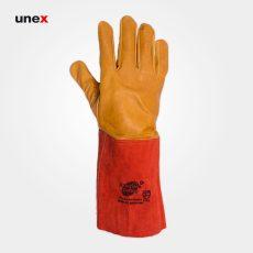 دستکش آرگون ساق بلند، ابزار ایمنی شهپر، دستکش چرمی، خردلی – نارنجی، پاکستانی