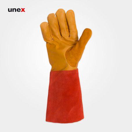 دستکش آرگون ساق بلند، ابزار ایمنی شهپر، دستکش چرمی، خردلی - نارنجی، پاکستانی