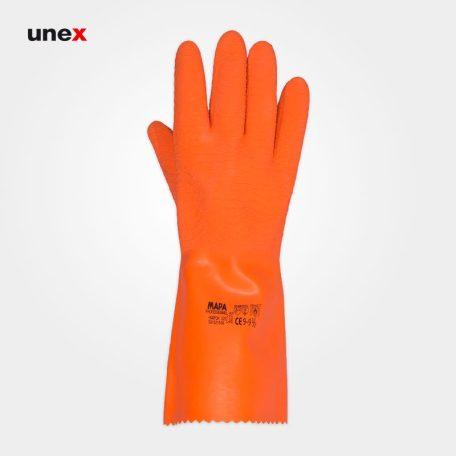 دستکش ایمنی ۳۲۵ شیاری ساق بلند، ماپا - MAPA، دستکش لاستیکی، نارنجی