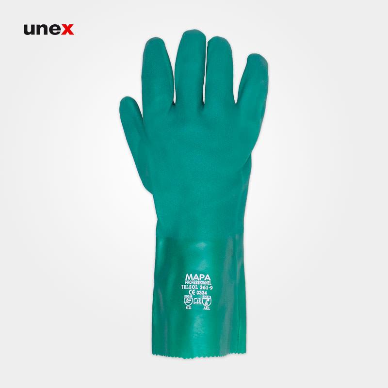 دستکش ضد اسید، ۳۶۱ TELSOL، ماپا – MAPA، دستکش مقاوم شیمیایی، سبز، سایز ۹ و ۱۰