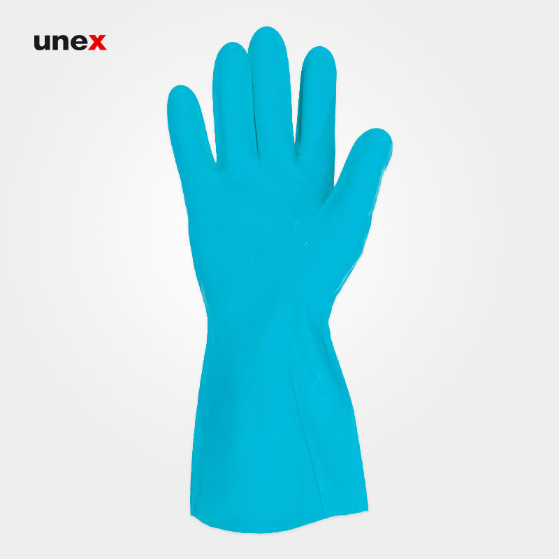 دستکش حلال ضعیف ۴۹۵ ساق بلند، ماپا - MAPA، دستکش مقاوم شیمیایی، آبی، سایز ۹