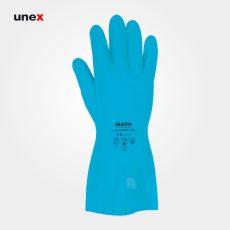 دستکش حلال ضعیف ۴۹۵ ساق بلند، ماپا – MAPA، دستکش مقاوم شیمیایی، آبی، سایز ۹