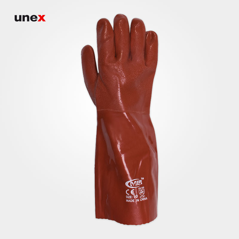 دستکش ضد اسید اکتی فرش، ام ال آر - MLR، دستکش مقاوم شیمیایی، قرمز، چینی