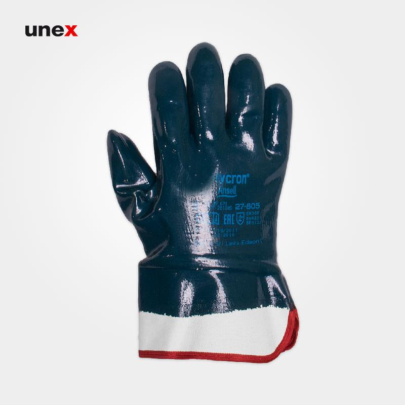 دستکش ۸۰۵-۲۷ های کرون – HYCRON، انسل – ANSELL، دستکش نیتریلی، سبز تیره، سایز ۹ و ۱۰