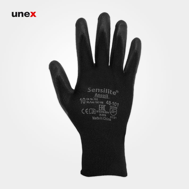 دستکش ۱۰۱-۴۸ سنسی لایت – SENSILITE، انسل – ANSELL، دستکش نیتریلی، مشکی، سایز۸، ۹ و ۱۰