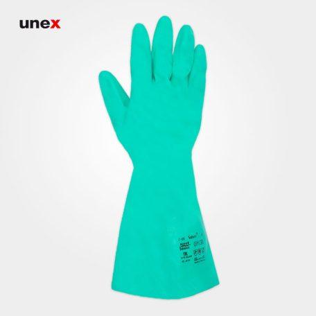 دستکش ۶۹۵-۳۷ سول وکس - SOLVEX، انسل - ANSELL، دستکش نیتریلی، سبز، سایز ۹ و ۱۰
