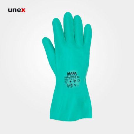 دستکش نیتریلی ۴۸۵ ساق کوتاه، ماپا - MAPA، دستکش نیتریلی، سبز، سایز ۸ و ۹