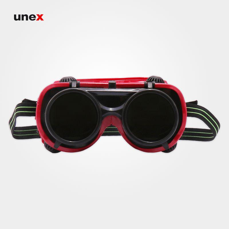 عینک جوشکاری دو جداره، یونیکو - UNICO، عینک جوشکاری، قرمز، سوئیسی