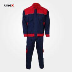 لباس کار یونکس مهندسی ۳۶۰ گرم سرمه ای قرمز