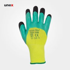 دستکش ضد برش ۹۵۸۹، سر انگشت مواد، ری ال – REAL، دستکش نیتریلی، سبز، سایز۱۰، چینی