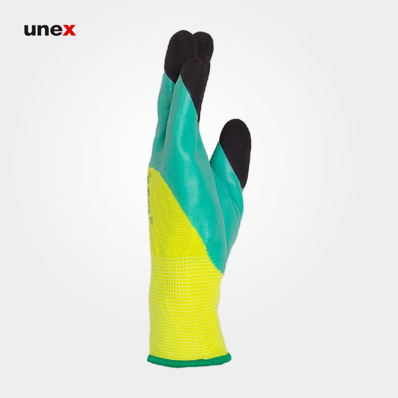 دستکش ضد برش ۹۵۸۹، سر انگشت مواد، ری ال - REAL، دستکش نیتریلی، سبز، سایز۱۰، چینی