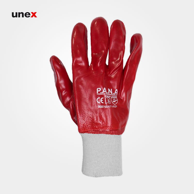 دستکش ضد اسید مچ کش دار، پانا – PANA، دستکش مقاوم شیمیایی، قرمز، چین