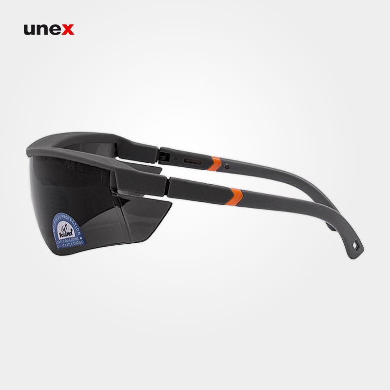 عینک ایمنی UD121، ولتکس - VAULTEX، عینک فریم دار، لنز مشکی و سفید، ایرانی