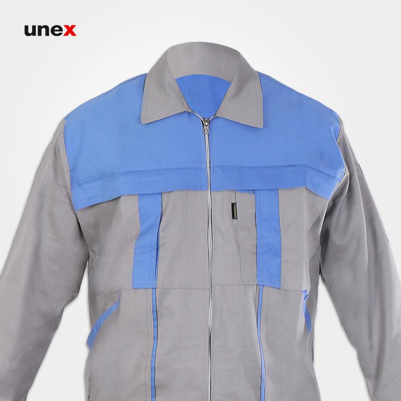 لباس کار کاپشن شلوار مهندسی آلفا، ابزار ایمنی شهپر، لباس کار صنعتی، استخوانی_آبی آسمانی، ایرانی