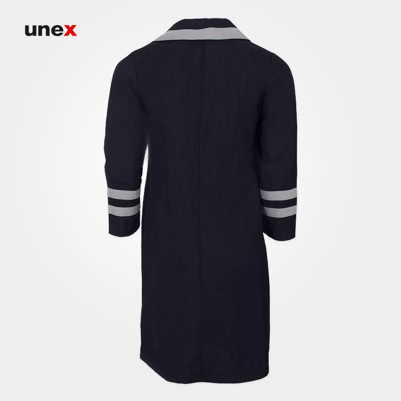 مانتو زنانه یقه دار، ایزار ایمنی شهپر، لباس کار صنعتی، رنگ سرمه ای و مشکی، ایرانی