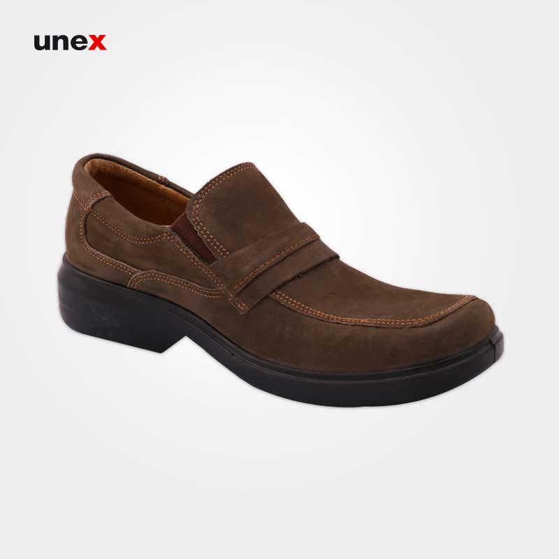 کفش پرسنلی مردانه ۴۰۸ نبوک، کفش شهپر، کفش اداری، سبز زیتونی، سایز ۴۰ تا ۴۵، ایرانی