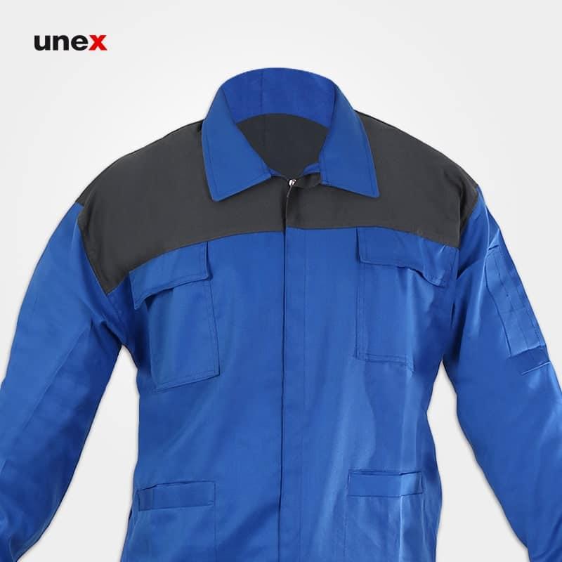 لباس کار کاپشن شلوار ایران خودرویی، ابزار ایمنی شهپر، لباس کار صنعتی، آبی_طوسی، ایرانی