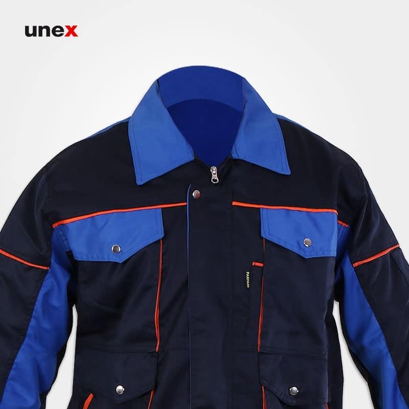 لباس کاپشن شلوار مهندسی طرح بوفالو، ابزار ایمنی شهپر، لباس کار صنعتی، سرمه ای_آبی ، ایرانی