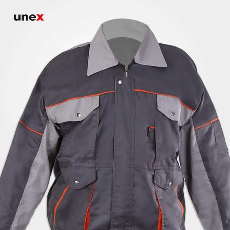 لباس کاپشن شلوار مهندسی طرح بوفالو، ابزار ایمنی شهپر، لباس کار صنعتی،طوسی_استخوانی، ایرانی