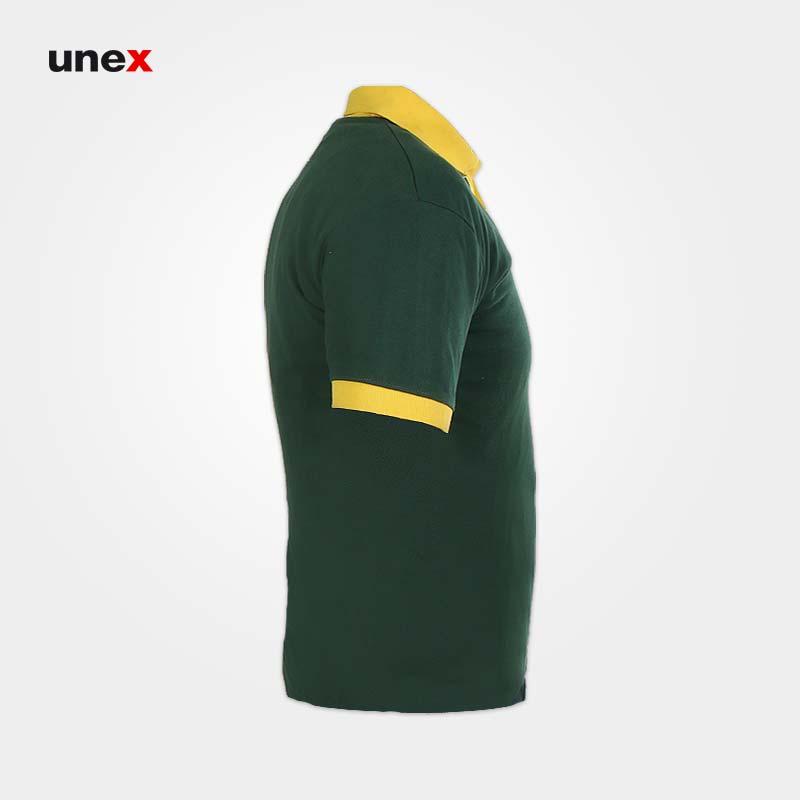 تی شرت یقه دار کش بافت جودون، ابزار ایمنی شهپر، لباس کار صنعتی، سبز-زرد، در سایزهای مختلف، ایرانی